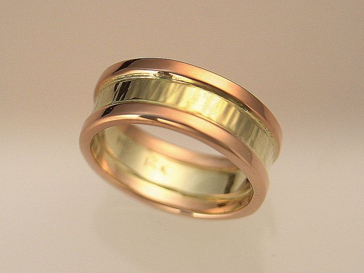 14k Green and Rose Gold Wedding Band For the Groom, Handmade in Maine by HarvestGoldJewelry on Etsy https://www.etsy.com/listing/125400917/14k-green-and-rose-gold-wedding-band-for