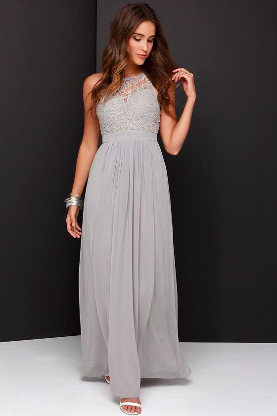 Bridesmaids!!!  So Far Gown Grey Lace Maxi Dress at Lulus.com!