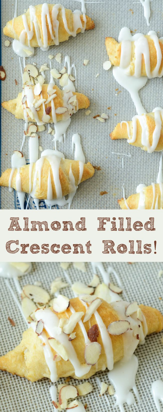 Almond Filled Crescent Rolls! Quick and easy breakfast with almond paste and a sweet almond frosting!