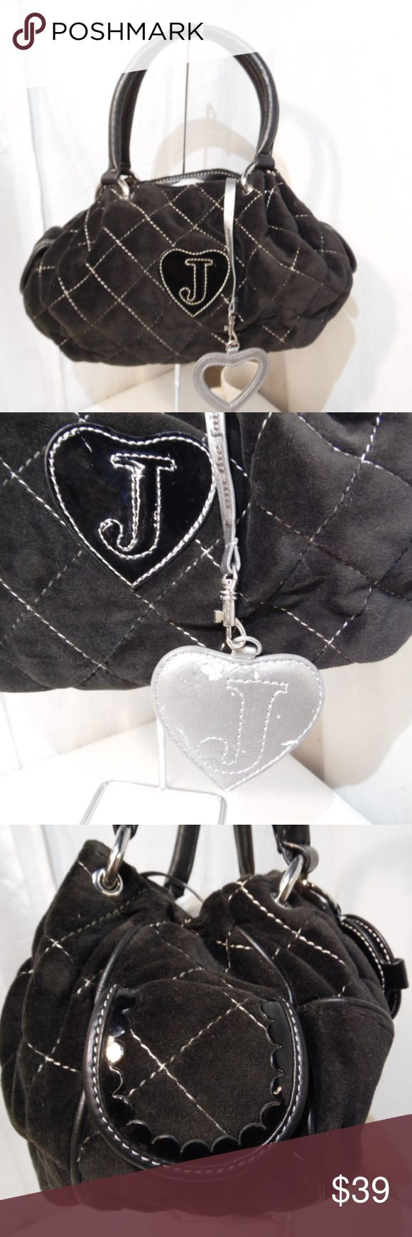 "Juicy Couture Velour/Velvet Satchel hand bag Pre owned  great used condition visible wear/scrape to back of mirror/letter J charm..picture 2 clean inside and out Small size 13"" wide 7"" tall 3"" deep..6"" handle drop. Juicy Couture Bags Satchels"