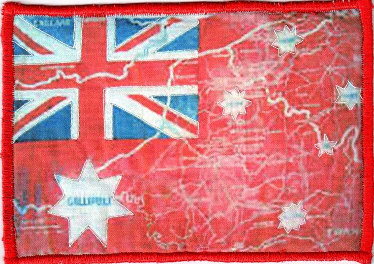 """WWI Australian Red Ensign overlaid with""""The famous Battlefields of the Australian Forces""""by Kate Martin"""