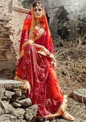Red Color Georgette Festival & Function Wear Sarees : Selina Collection  YF-43373