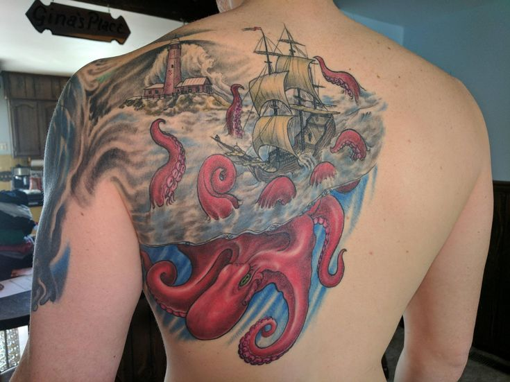 Sea tattoo done by Matthew Amey of Independent Tattoo - Selbyville DE