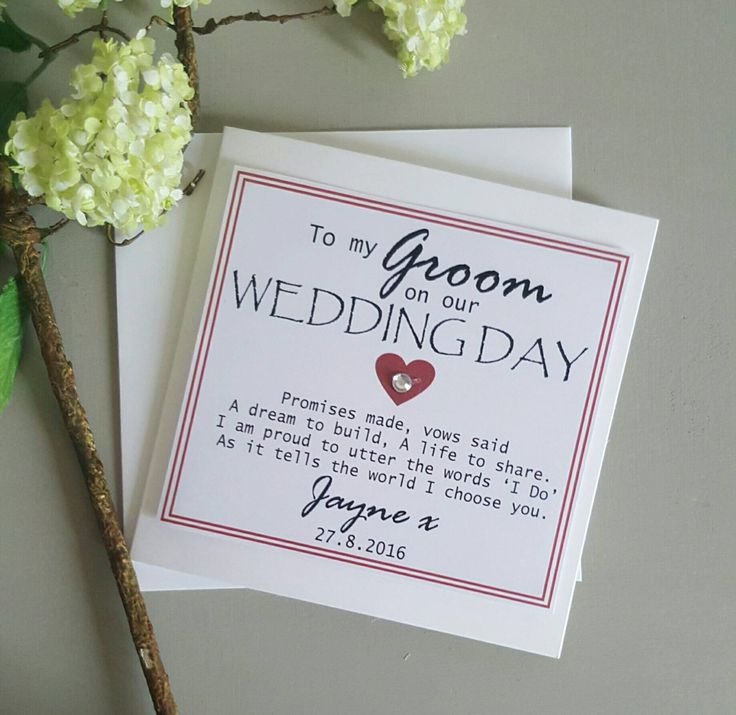 Groom Wedding Day Card Personalised Keepsake