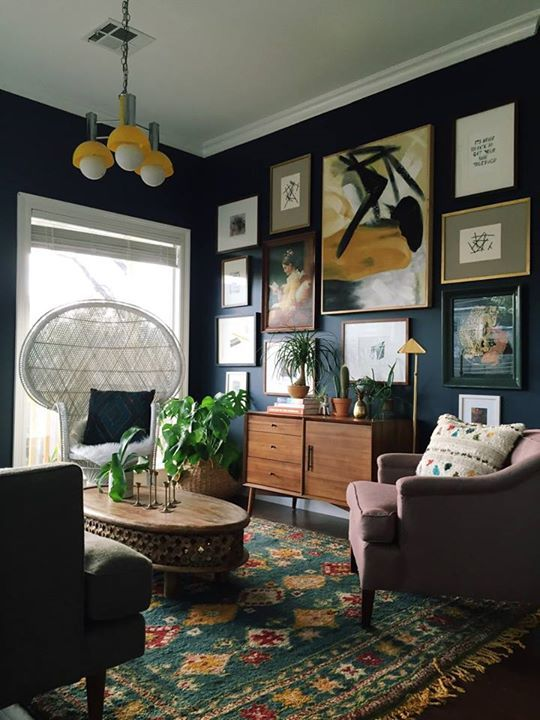 Dark walls and kept white ceiling w/out looking preppy