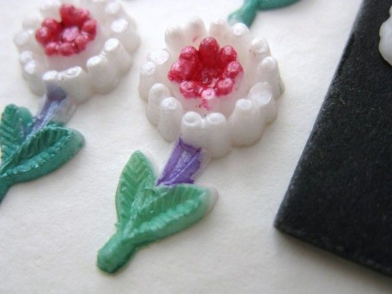 Vintage Flower Cabochon Daisy Pink White Painted Plastic Japan 20mm pcb0127 (6)