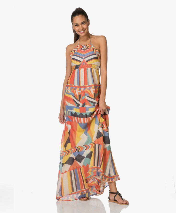Deze A-lijn maxi-jurk van Ba&sh komt met een trendy cut-out deel bij de rug en toont een patroon van geometrische motieven.