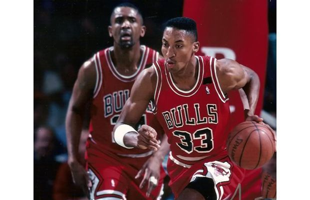 12. Scottie Pippen--- Accomplishments: 7-time All-Star, Six-time NBA Champion, Three-time First Team All-NBA, Eight-Time All-Defensive First Team Team(s): Chicago Bulls Career Stats: 16.1 PPG, 6.4 RPG, 5.2 APG, 2.0 SPG, 0.8 BPG Years Played: 1987-2004