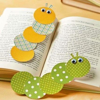 Marque page en forme de chenille sympas à réaliser pour les enfants