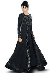 Black Faux Crepe and Net Readymade Abaya with Hijab