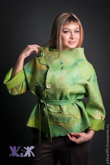 """Пиджаки, жакеты ручной работы. Ярмарка Мастеров - ручная работа. Купить Жакет """"Зеленый лист"""". Handmade. Салатовый, вискоза"""