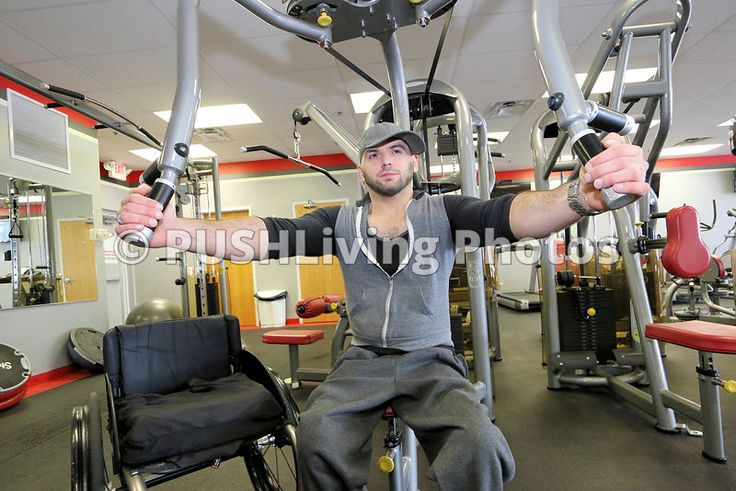 Time to create all those fitness articles and advertisements...be sure to use stock images of people with disabilities as well. We all benefit with inclusion. Model: Joseph K by Dave Cameron. Man in a wheelchair working out at a gym