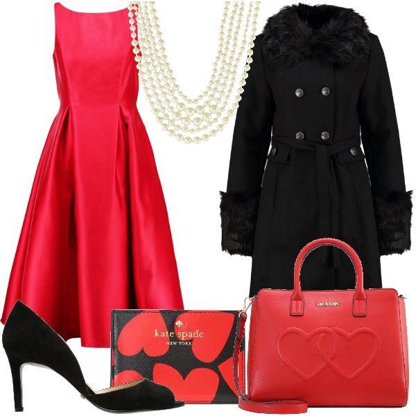 Abito+rosso+senza+maniche+in+perfetto+stile+anni+cinquanta+abbinato+a+cappotto+nero+con+collo+in+ecopelliccia+e+cintura+in+vita.+Per+gli+accessori+ho+scelto+scarpe+spuntate+nere,+borsa+a+mano+in+ecopelle+rossa+con+due+cuori+in+rilievo+alla+quale+abbinare+una+custodia+per+biglietti+da+visita+o+carte+di+credito+nera+con+cuori+rossi+e+infine+collana+di+perle.
