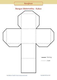 gunting tempel geometri 3d untuk SD, model bangun matematika kubus