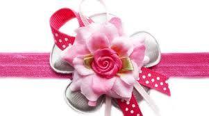 Haarband met mini roos en lintjes