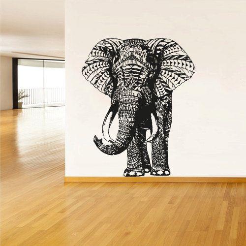Wall Decal Vinyl Sticker Decals Art Decor Design Elephant Mandala Ganesh Indian Buddha Pattern Damask Bedroom Family Gift Dorm Modern (r294)...