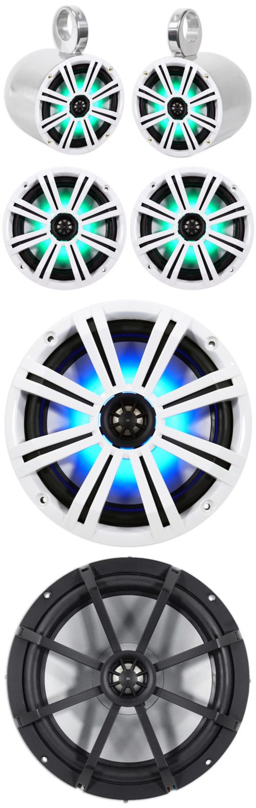 Marine Audio: Pair Kicker 43Km84lcw 8 600 Watt Marine Boat Wakeboard Tower Speakers W/ Leds -> BUY IT NOW ONLY: $229.95 on eBay!