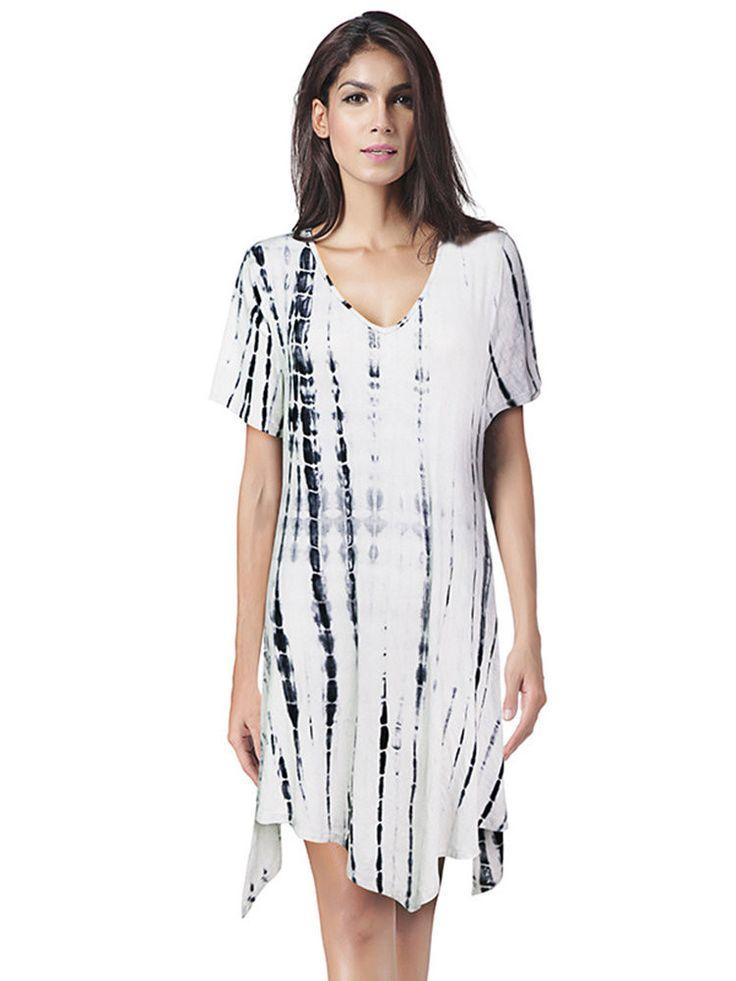 Casual Tie-dyed Irregular Short Sleeve V-neck Mini Dress For Women