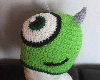 ganchillo de un monstruo de ojos verde sombrero de la gorrita tejida, sombrero de niños divertidos
