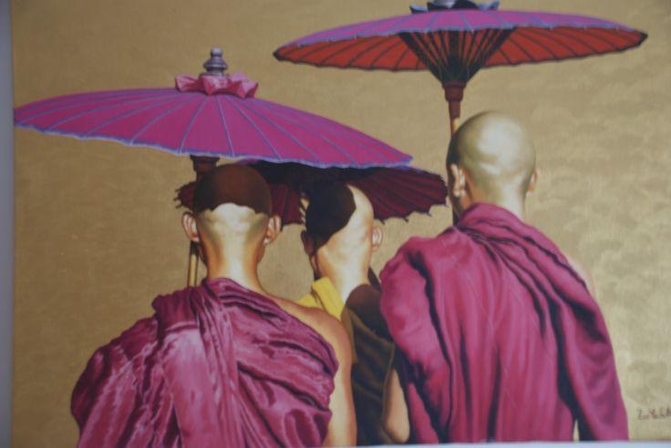 Burmese Monks with Umbrellas.