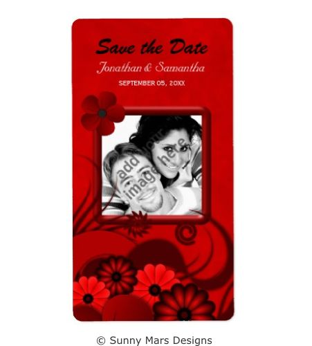 Red Floral Hibiscus Custom Photo Wedding Save The Date Wine Labels by sunnymars  of SunnyMarsDesigns in association with Zazzle. This stylish, modern, trendy customizable wedding label features an illustration of an elegant dark red swirly tropical flower decoration designs.  Click through to see matching wedding stationery and other related products.