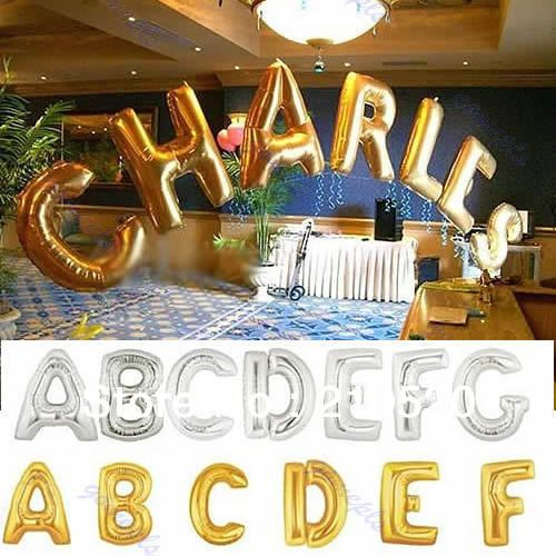 free shipping glodsilver large letter mylar foil balloon for party wedding decoration supply a z alphabet hot sale in event part