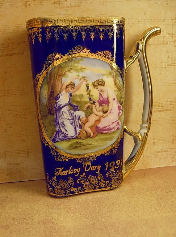 Vintage healing Cherub portrait Cup from Karlovy Vary with the...Repinned by one of WorthPoint's favorite pinners! #karlovyvary