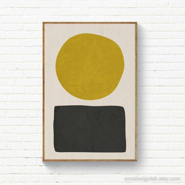 Minimalist Mustard Yellow & Black Abstract, Organic Shapes