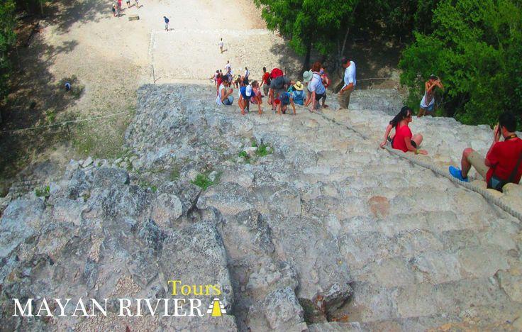 """Scale the highest Mayan pyramid of the Yucatan Peninsula, """"Nohoch Mul"""" in the ruins of Coba. You dare? _________________________  Escala la pirámide maya más alta de la Península de Yucatán, """"Nohoch Mul"""" en las ruinas de Cobá. ¿Te animas?  www.mayanrivieratour.com  #travel #travels #holidays #adventure #mayanriviera #caribbean #mexico #tour"""
