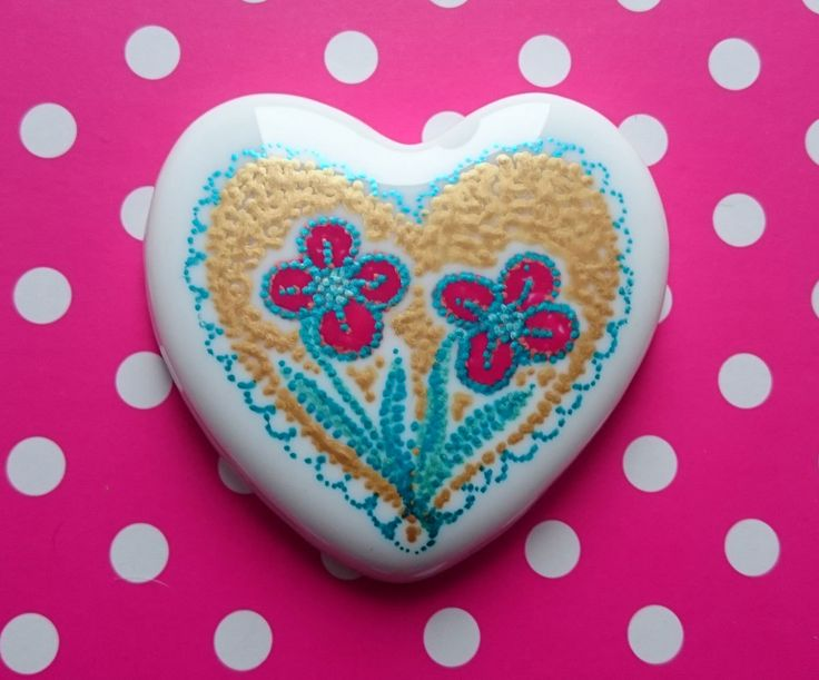 Little Hearts #12: handpainted art on a little white heart by TheBigLittleArtShop on Etsy