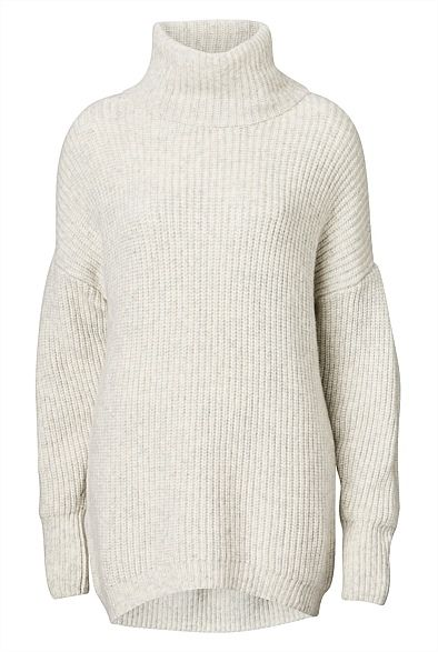 Rib Roll Neck Knit - Perfect to bring in the cooler months. Perfect to wear with leggings, skinny jeans or skirt!  #greyjumper #autumnstyle2016 #witcherystyle