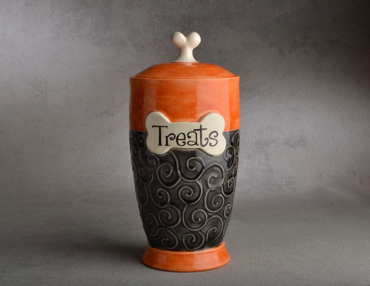 Dog Treat Jar Ready To Ship Treats Orange by symmetricalpottery, $55.00