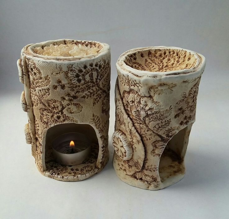 Oil Burners, lace impression, hand made