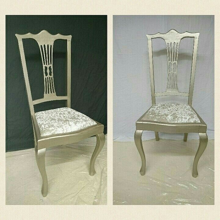 Fabulous chair painted in Everlong Superior Finish paint in Mercury and Stardust and reupholstered using silver grey crushed velvet