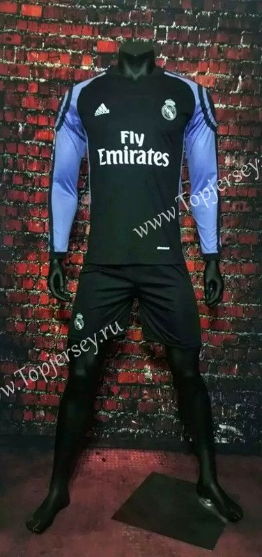 2016-17 Real Madrid 2nd Away Black LS Soccer Uniform-Real Madrid| topjersey