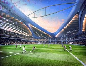 Al Wakrah Stadium, Qatar. View from a player's perspective in Al Wakrah Stadium, currently being constructed for the 2022 FIFA World Cup™. Al Wakrah Stadium was designed by AECOM, in association with Zaha Hadid Architects.