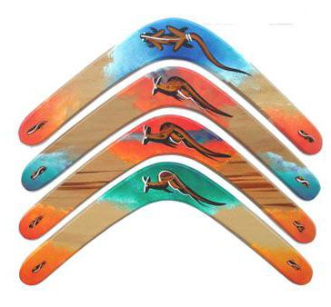 Lightweight Boomerang Flyers Aussie Products sells aboriginal artefacts at online store for $4.25 to $5.70