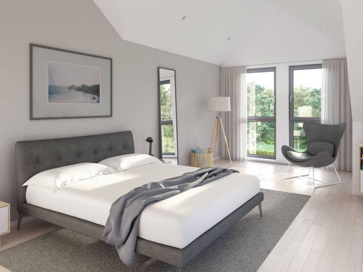 Schlafzimmer Modern Grau Weiss Mit Erkerfenster Dachschrage