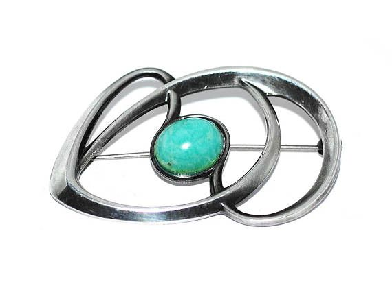 David-Andersen Modernist Sterling Silver Amazonite Abstract
