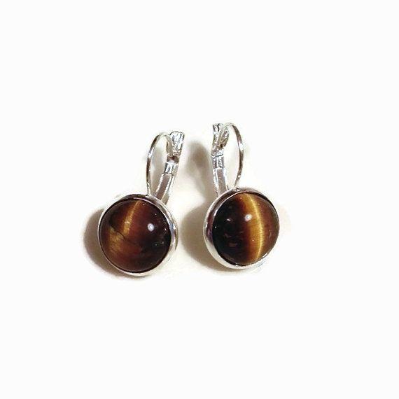 Tigers Eye Gemini Birthstone Silver Earrings. Natural June Gemstone Bohemian Gift Sterling Silver 12mm yellow gem. Gift for her. Mothers day by MyJewelsGarden Pressed Flowers Jewelry by Myjewelsgarden <3