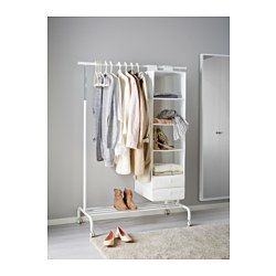 IKEA - RIGGA, Clothes rack -  You can easily adjust the height to suit your needs as the clothes rack can be locked in place at 6 fixed levels.There is room for boxes or 4 pairs of shoes on the rack at the bottom.