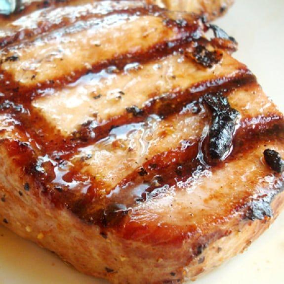 Oven grilled pork steaks. Marinated pork steaks cooked in halogen (turbo) oven.