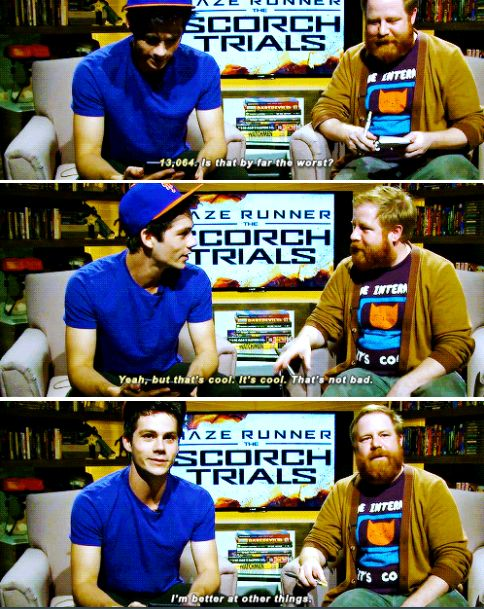 """Dylan O´Brien - """"I can´t wait to tell Dexter what I got"""" - IGN Plays Temple Run With the Cast of The Maze Runner: Scorch Trials"""