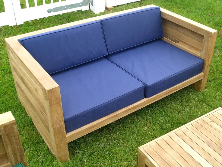 asmara teak outdoor box sofa 2 chairs and coffee table set with thick weatherproof cushions
