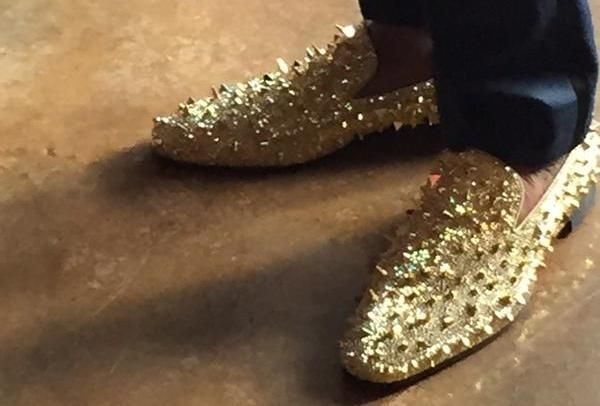 cam newton in gold shoes | Cam Newton wore spiky gold shoes to his charity benefit | For The Win
