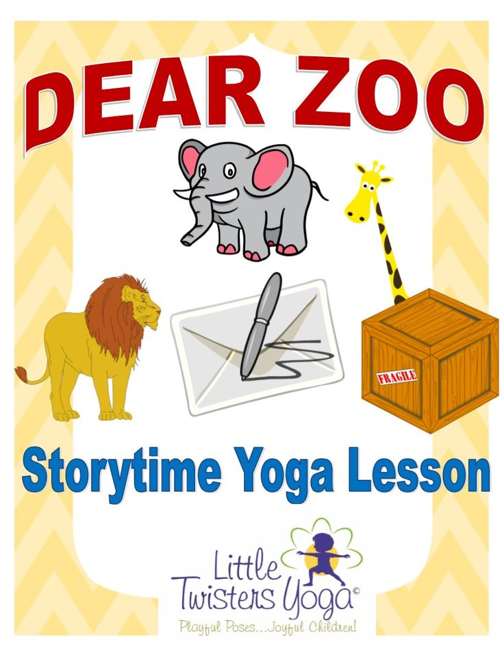 """Written by a professional children's yoga teacher, this lesson is the perfect zoo-themed yoga and creative movement companion to the classic book """"Dear Zoo"""" By Rod Campbell, and is appropriate for even the youngest of students. (Pre-K- 1st Grade).   Students will love retelling this sweet story through fun poses of their favorite animals: Elephant, Giraffe, Lion, Camel, Snake, Monkey, Frog, Dog www.LittleTwistersYoga.com"""