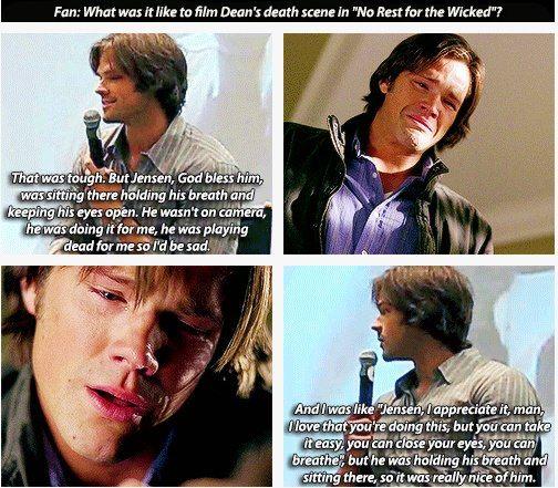 Supernatural: Jared on one of Jensen's death scenes.