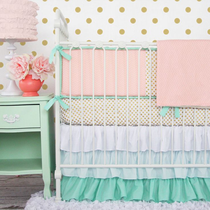 Mint and Coral Chevron Baby Bedding by CadenLaneBabyBedding on Etsy https://www.etsy.com/listing/182291657/mint-and-coral-chevron-baby-bedding