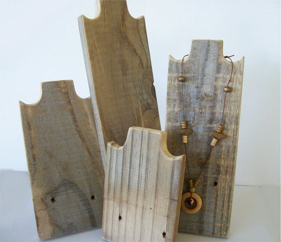 Set of 4 Necklace Stands Rustic Wood Necklace Display Weathered ...
