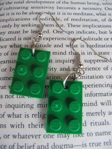Lego Earring easy to make :-) @Nichole Radman Daily If we ever did a boys lego party we would have to wear these! :)